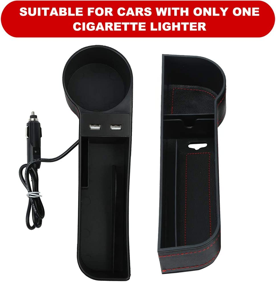 PU Leather Car Seat Pocket Organizer with 2 Cup Holder 2 USB Ports Car Console Side Organizer for Coins Cards Phone Keys alavisxf xx Car Seat Gap Filler, 2 Pack