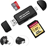 USB Card Reader Micro USB OTG to USB 2.0 Adapter, Rusee Micro USB OTG Adapter and USB 2.0 Card Reader for SDHC, Micro SDXC, SD, TF, SDHC, SDXC, MMC, RS-MMC, UHS-I Cards USB Flash Drive Card Reader