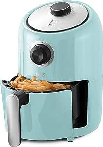 Dash DCAF150GBAQ02 Compact Air Fryer Oven Cooker with Temperature Control, Non Stick Fry Basket, Recipe Guide plus Auto Shut off Feature, 1.2 qt, Aqua