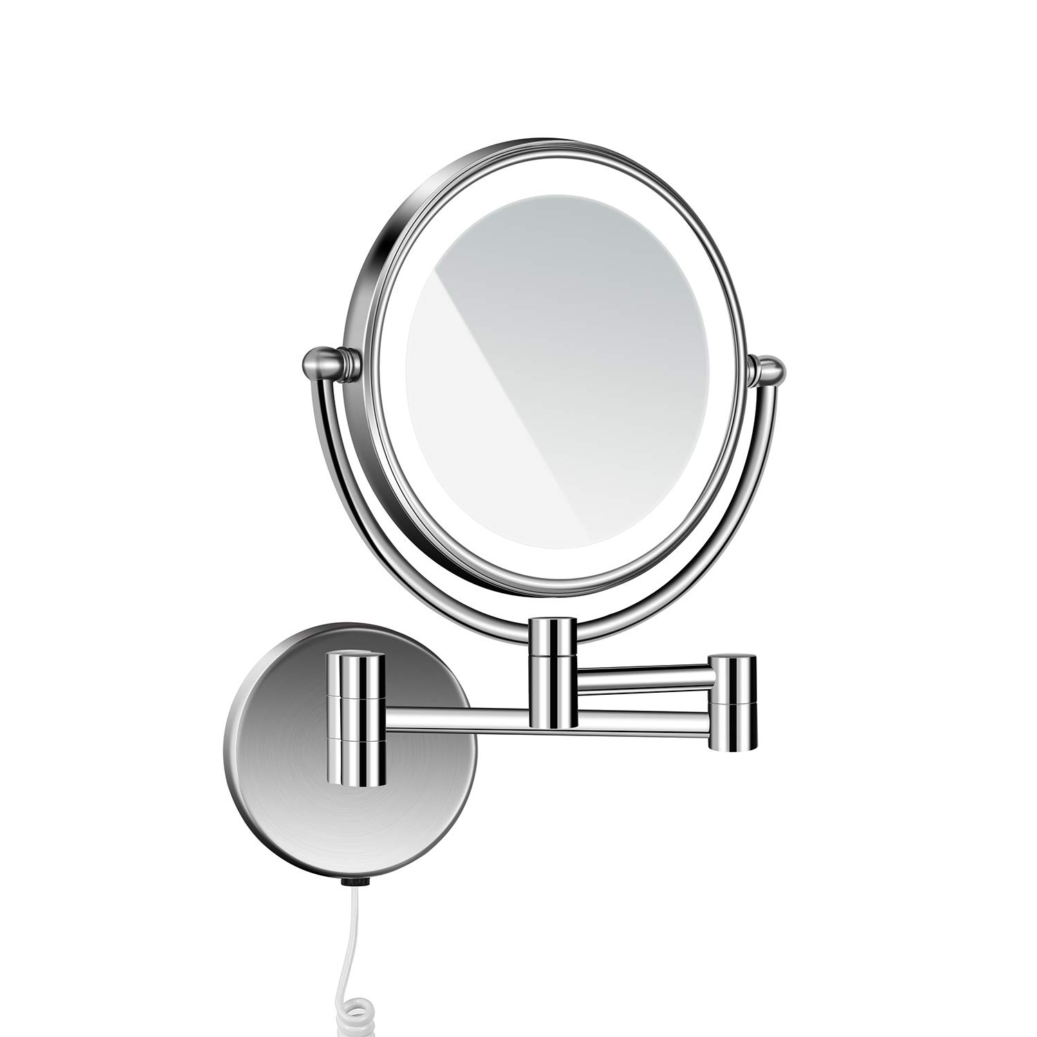 langrun 3X Magnification Body Sensing LED Lighted Dual Sided Wall Mirror, 8Inch Stainless Steel (Nickel Brushed, Lighted) by langrun