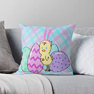 Yellow Plaid Blue Easter Pink Pastel Green Chich - Pillow Case Cotton Polyester - The Most Impressive Printed Square Throw Pillow case for Home and car Sofa Decoration