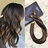 hair extention package - LaaVoo 14inch 1g Per Strand 50g Per Package Hair Extensions Color #2 mixed #8 Hair Extentions Fusion I Tip Hair Extensions