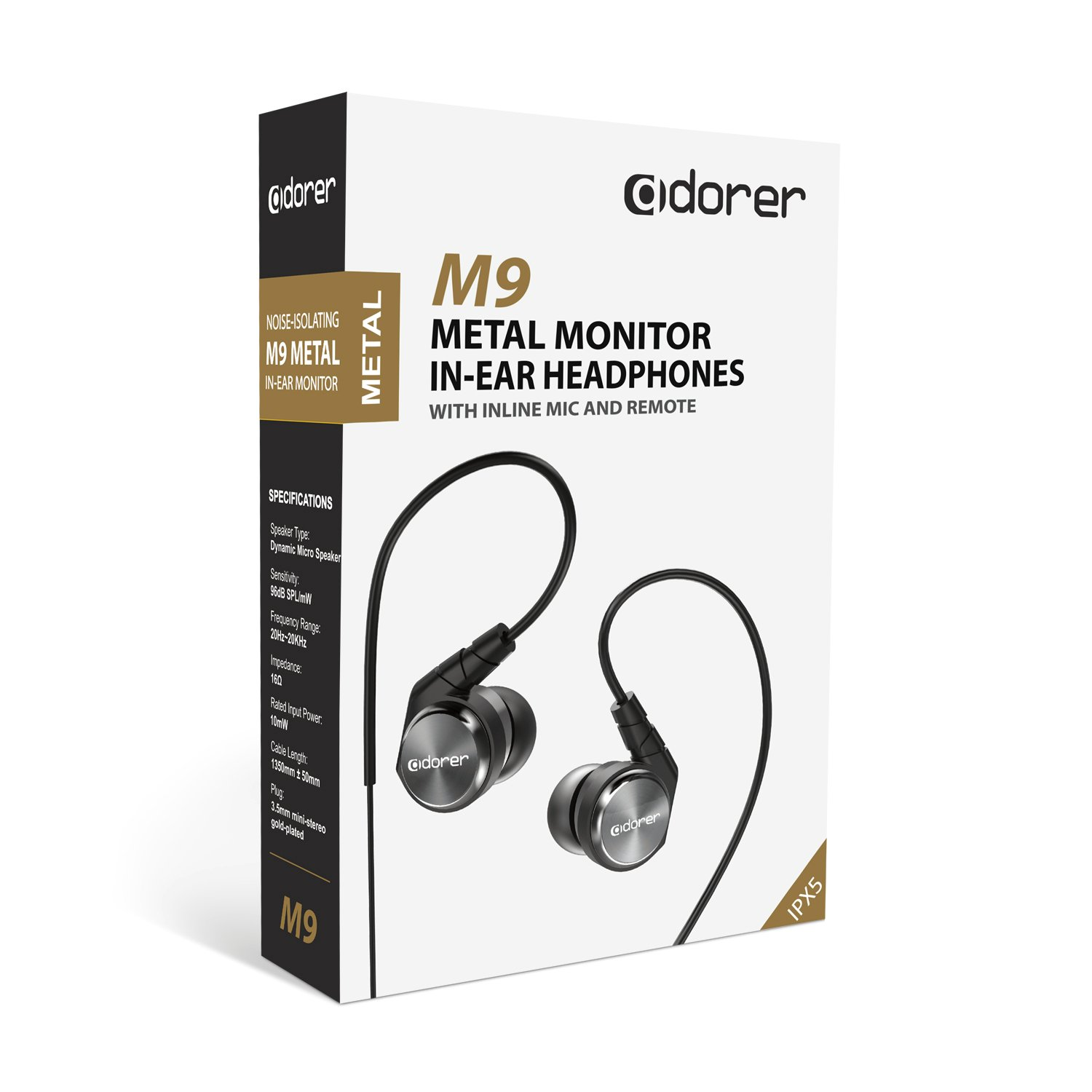 Adorer M9 High Definition In-Ear Monitors with Microphone Noise-Isolating Headphones for Musicians, Singers, Sports - Silver
