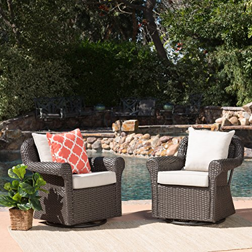 Augusta Patio Furniture ~ Outdoor Wicker Swivel Rocker (Glider) Chair (Set of 2) - Swivel Rocking Set