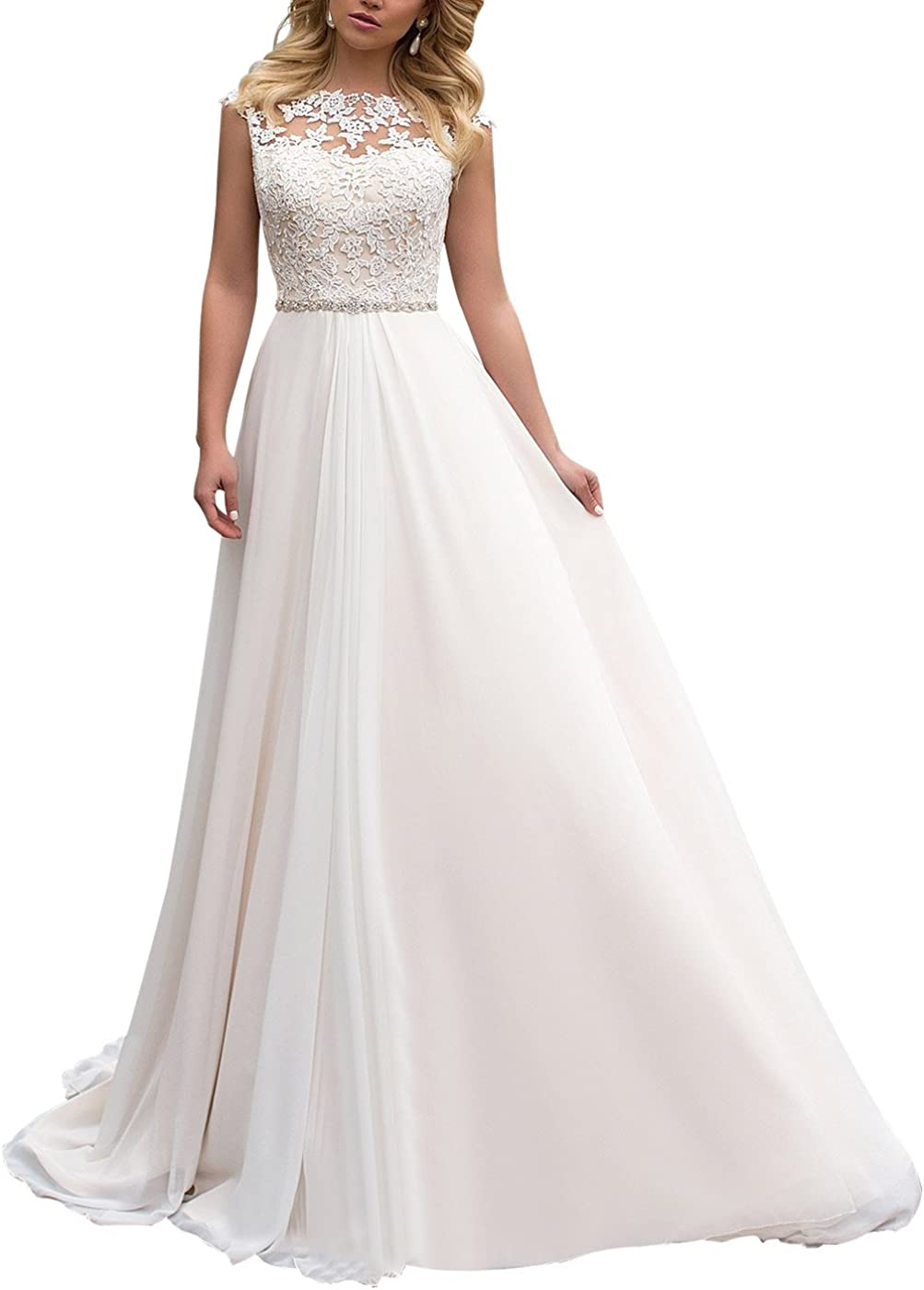 Yilis High Neck Lace Wedding Dress Chiffon With Beads Belt Beach Bridal Gowns At Amazon Women S Clothing Store