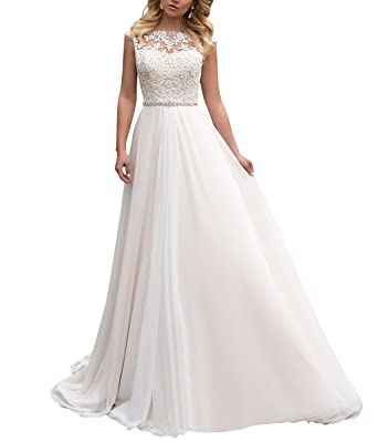 Yilisclothing Yilis High Neck Lace Wedding Dress Chiffon With Beads ...