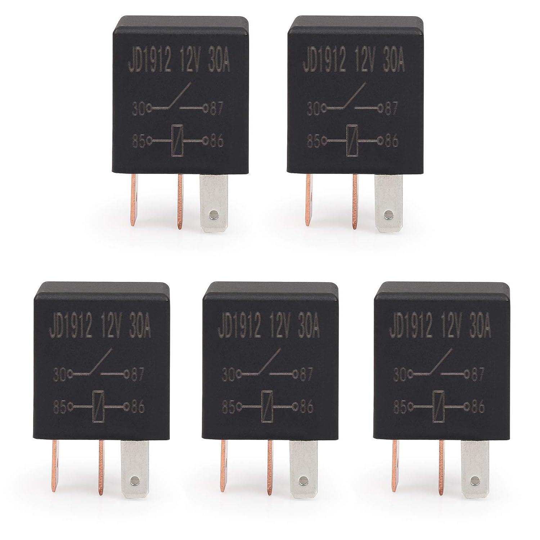 Ehdis/® Kit 4 Pin 12V 30A SPST Multi-Purpose Relay Heavy Duty Standard Relay Confezione da 10