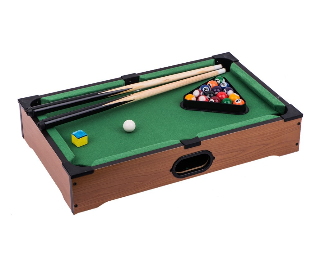 NEW! Pool Table - 20'' Tabletop with Deluxe Green Felt, 2 Cues, Balls,Triangle, Brush and Chalk