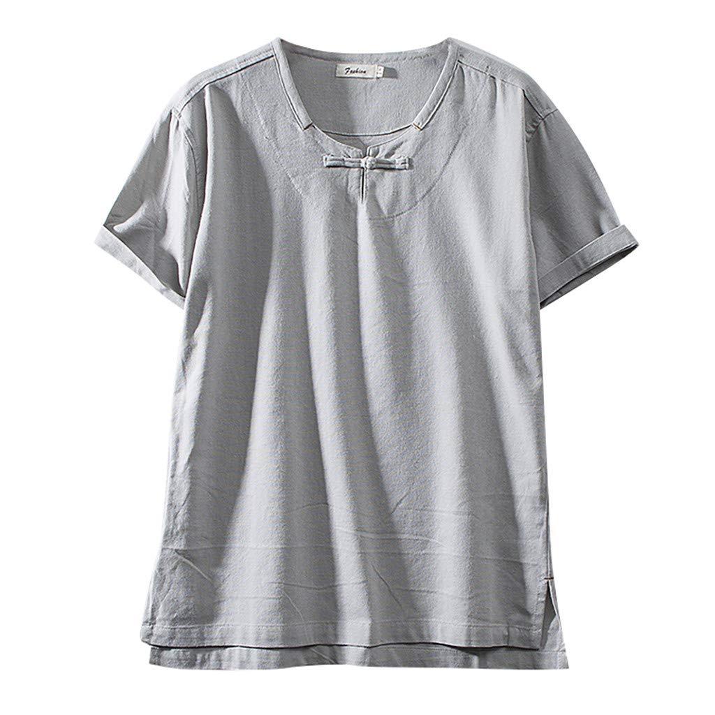 Sharemen Men Shirt Baggy Cotton Linen Solid Color Short Sleeve Summer Cotton Tops Blouse(Gray,3XL)