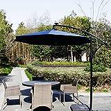 Kinbor 9 Feet Outdoor Patio Umbrella Solar Powered LED Lighted Hanging Umbrella Window Awning Garden Furniture, Burgundy/ Tan/Blue (Blue)