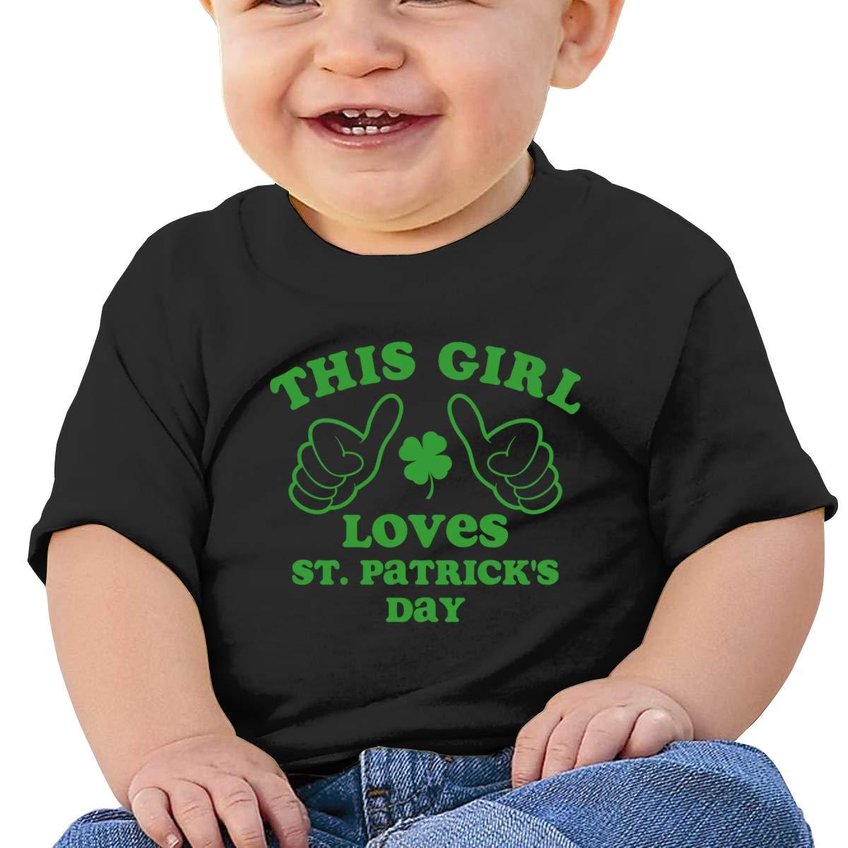 This Girl Loves St Patricks Day Short Sleeve T-Shirts Baby Boys