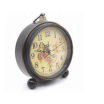 Despertador JXLBB Antiguo Reloj de Pared de Cobre de imitación Reloj Creativo Silencio Personalidad Mesita de Noche Reloj Decoración Retro Pequeño Reloj ...