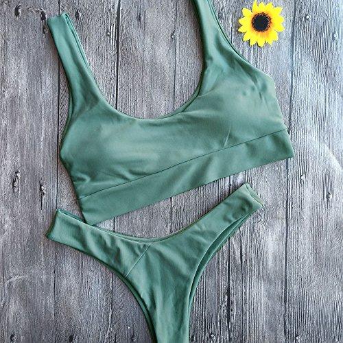 GGTFA Mujeres Collar De Deporte Push Up Bikini Set Triángulo Tanga Brasileña De Traje De Baño Trajes De Baño Ropa De Playa Verde