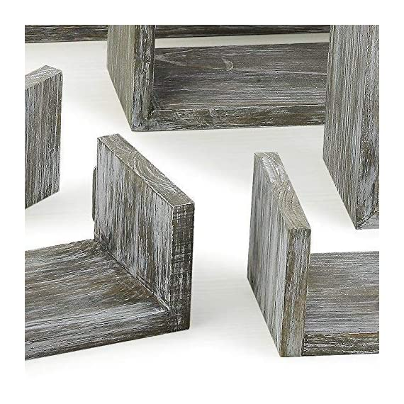 RR ROUND RICH DESIGN Floating Shelves Set of 6 - Rustic Wood Wall Shelves with 3 Square Boxes and 3 Small U Shelves for Free Grouping Driftwood Finish - THE RC ADVANTAGE: Constructed of solid wood ,lightweight and sturdy, Simple classic structure, Beautiful antique color .A strong rustic style. Grey. EASY TO USE: Features square and U shelves combination to meet diverse needs and flexible wall mounting. lightweight yet sturdy, each wood shelf holds up to 11lbs; easy to install. FLEXIBLE: Features square and U shelves combination to meet diverse needs and flexible wall mounting, suit for grouping together or hang separately. displaying collectibles, arts, crafts, picture frames, house plants, stuffed toys in living room, bedroom, office or for home supplies in bathroom or kitchen - wall-shelves, living-room-furniture, living-room - 61gbUYO RmL. SS570  -