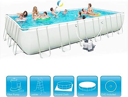Marco de metal rectangular Piscina Centro de natación Jardín familiar Espesar al aire libre Piscinas de
