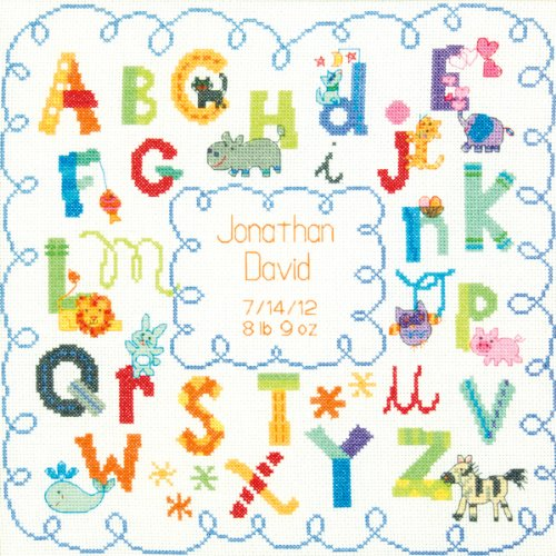 (Brand New Baby Hugs Alphabet Birth Record Counted Cross Stitch Kit-12