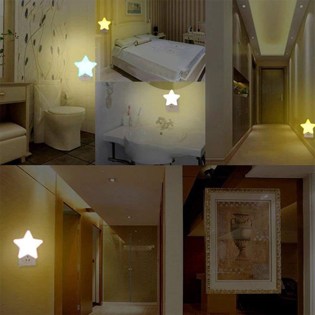 WESEEDOO Luz de Noche para ni/ños Luz de Forma de Estrella Mini Enchufe de Pared con luz LED Luz de Noche autom/ática Luces de sue/ño para ni/ños Luz de decoraci/ón del Dormitorio Enchufe de la UE Azul