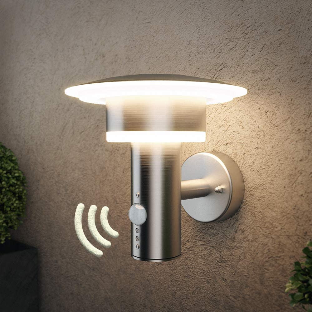 NBHANYUAN Lighting LED Outdoor Wall Light Outside Wall Lamp Silver Stainless Steel Weatherproof 3000K Warm White External Lamp 110V 1000LM [Energy Class A+] (with PIR Sensor)