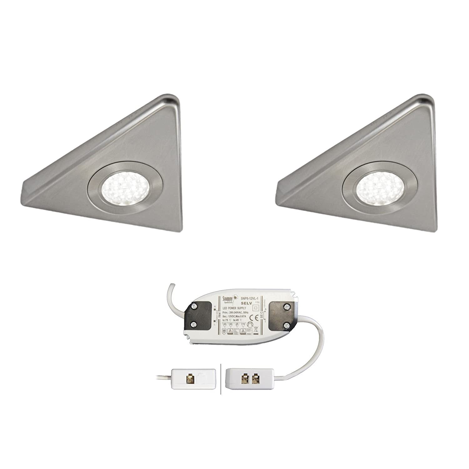 4x KITCHEN UNDER CABINET CUPBOARD LED SLIM TRIANGLE LIGHT KIT STAINLESS FINISH COMO COOL WHITE