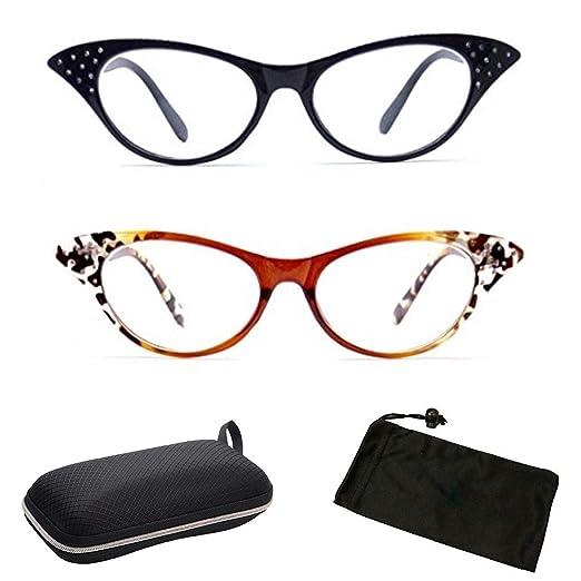 2f186e188e51 Amazon.com  ( CAT001-1.0) 2 Pairs Rhinestone Designer Retro Classic Frame  Trendy Readers Reading Glasses + Hard Case   Cleaning Cloth (Strength  +1.00)  ...