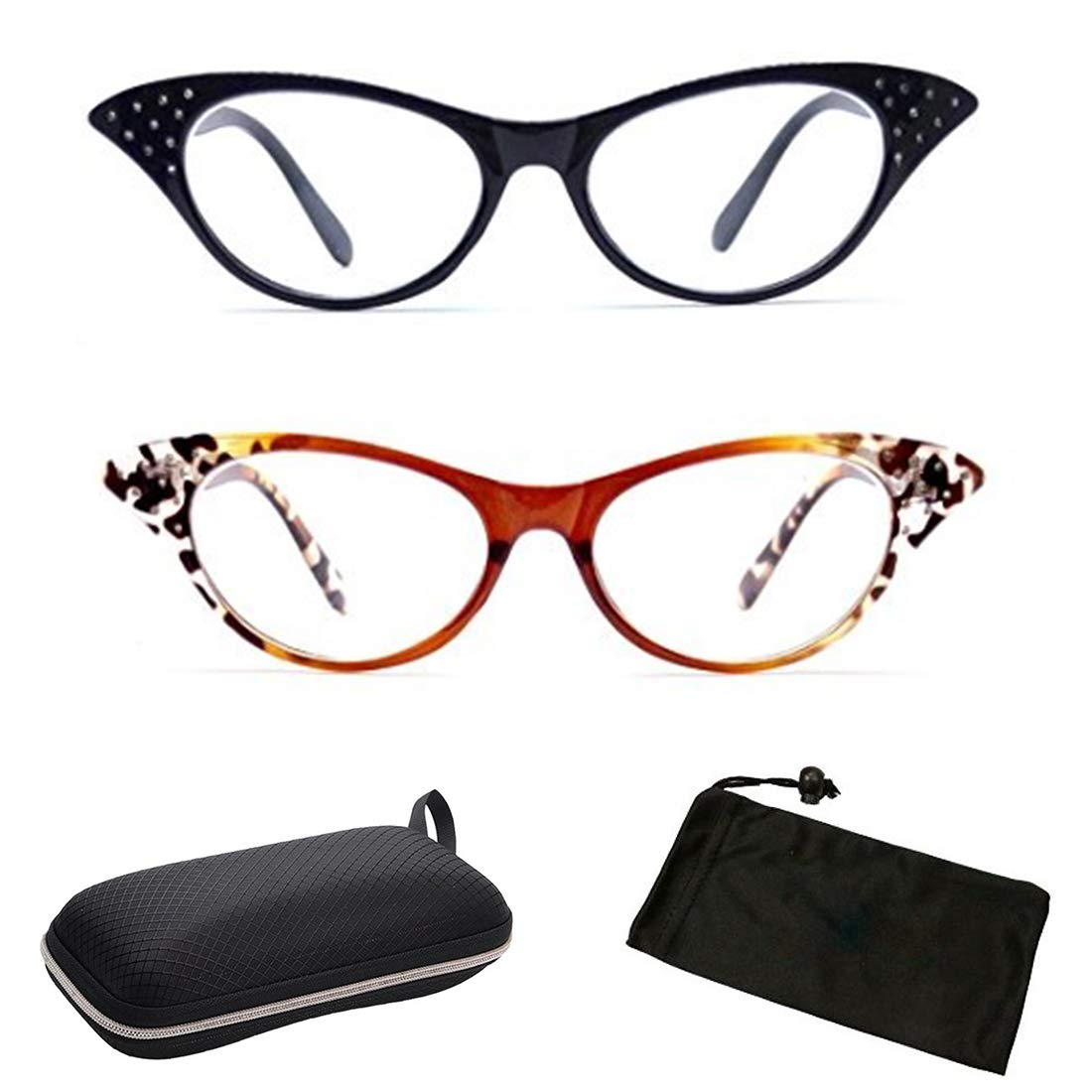2c7e37ea4fc Cateye Retro Readers Reading Glasses for Women Female with Free Hard Case (Plastic  Frame) (Oval 70 s 80 s Shape) (Designer