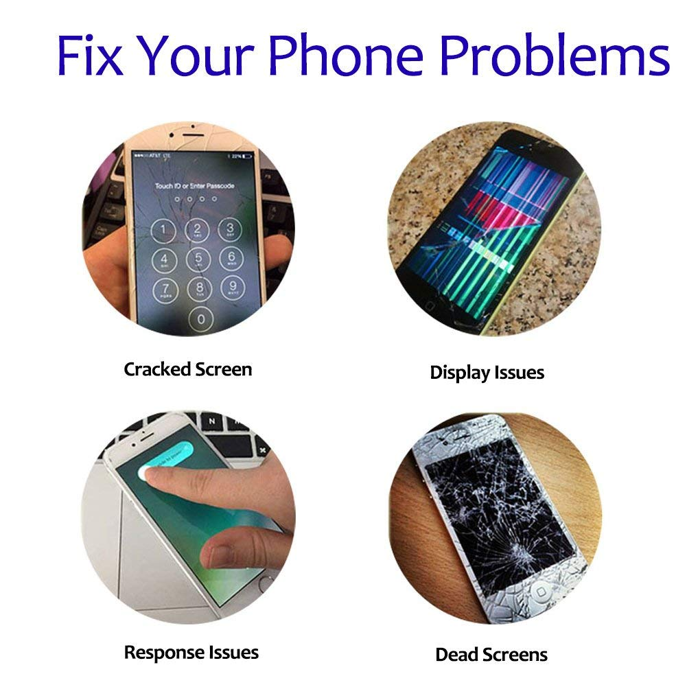 Repair Tools and Screen Protector Earspeaker and Front Camera Screen Replacement for iPhone 5s White Fully Pre-Assembled LCD Display and Touch Screen Digitizer Replacement with Proximity Sensor