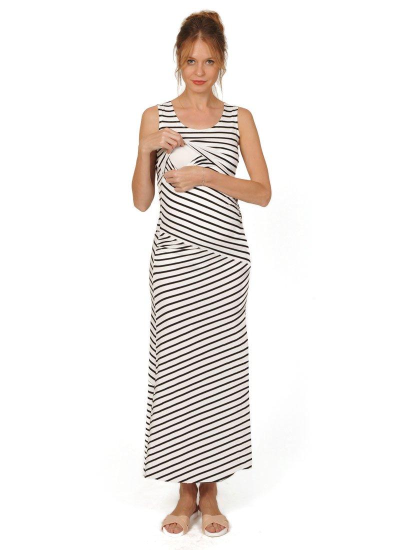 Peekaboo Breastfeeding & Nursing Maxi Striped Dress| Sleeveless Striped Maternity Dress for Women | Great for The Summer