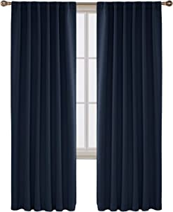 Deconovo Solid Back Tab and Rod Pocket Curtains Blackout Curtains Thermal Insulated Drapes Room Darkening Curtains for Living Room 52x84 Inch Navy Blue 2 Panels