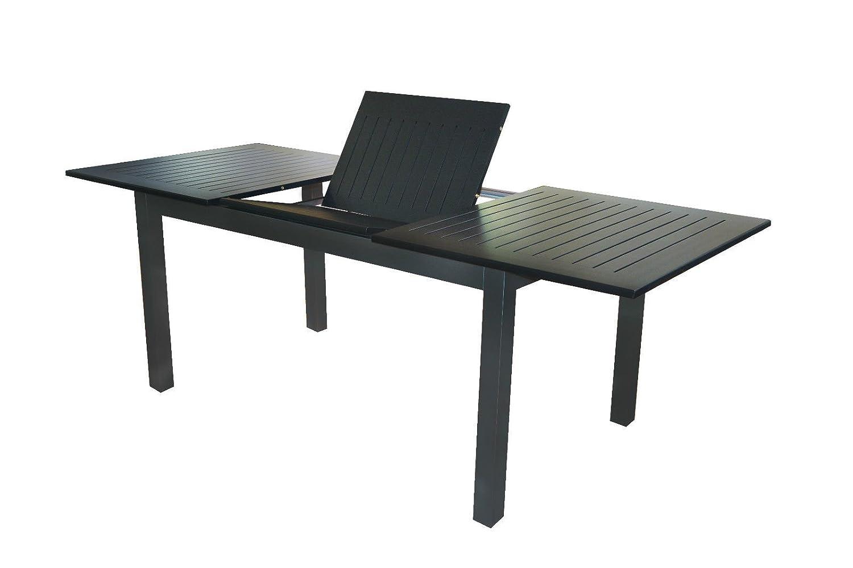 Voll Aluminium Gartentisch 150/210 x 90 cm mit Synchronauszug von Doppler anthrazit schwarz Detroit
