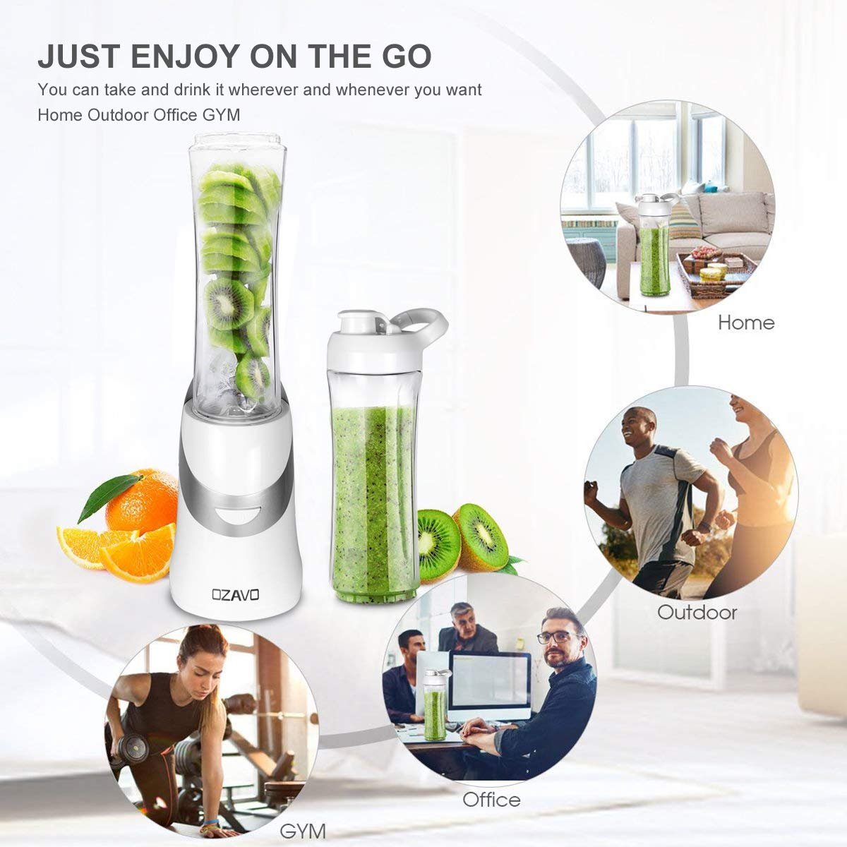 OZAVO Batidora Portátil Mini Mixer | Mini Batidora de Vaso | 350 vatios | Vidrio de Acero | Botella de Agua | Mezcladores Libres de BPA | Cuchillos de Metal ...