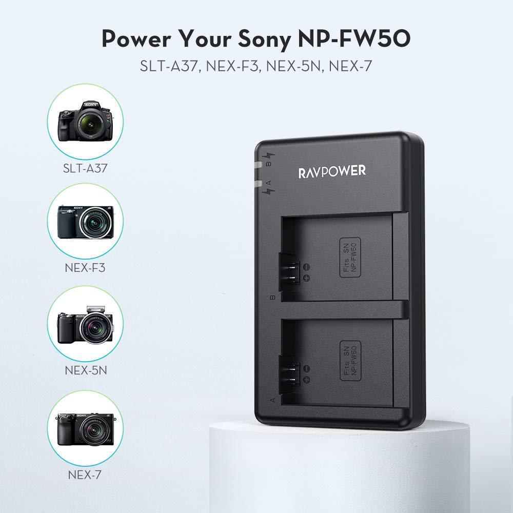 Amazon.com: NP-FW50 Ravpower Cargador de batería de doble ...