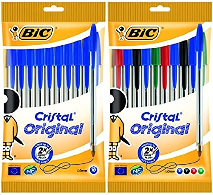 Bic - Pack 10 bolígrafos de punta redonda de color azul + 10 ...