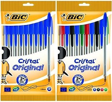 Bic - Pack 10 bolígrafos de punta redonda de color azul + 10 bolígrafos de punta redonda de colores variados: Amazon.es: Oficina y papelería