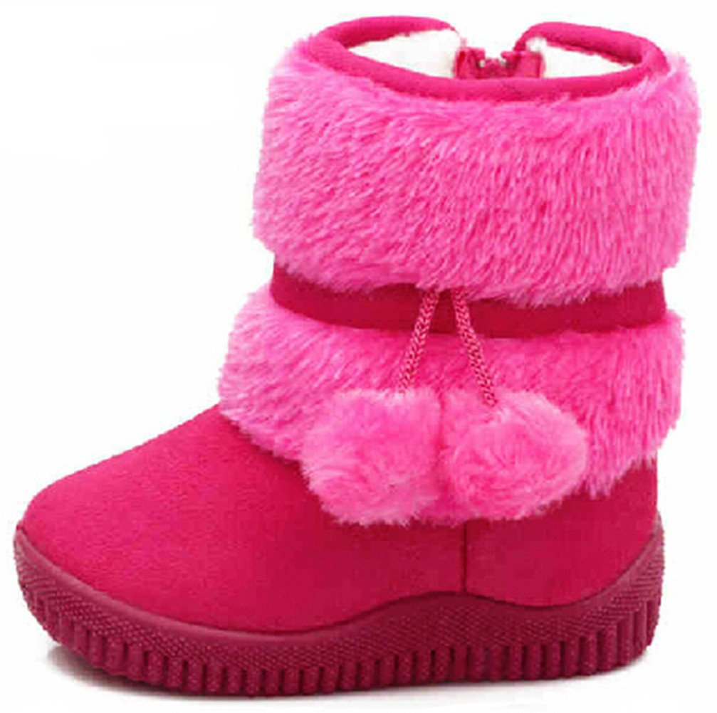 DADAWEN Baby's Girl's Cute Flat Shoes Pom Pom Winter Warm Snow Boots Red US Size 5 M Toddler(Toddler/Little Kid/Big Kid)
