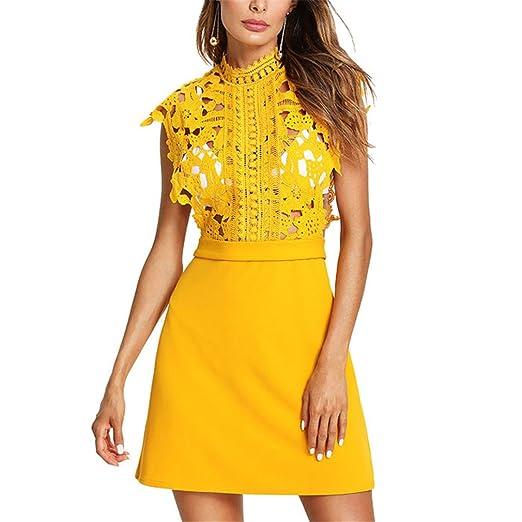 Vestido blusa de encaje sin sujetador Vestido sin mangas de cuello alto de color naranja Vestido sexy amarillo de las mujeres Yellow-L: Amazon.es: Ropa y ...