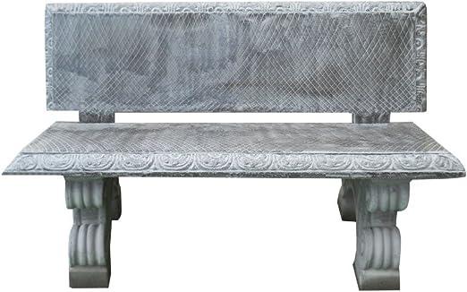 Banco de cemento artificial granulado con inserciones de piedra volcánica de 130 x 75 x 77 cm.: Amazon.es: Jardín