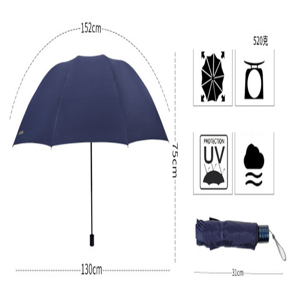 Guoke One Umbrella Male And Large Female Students Fold Reinforcement Two Umbrellas, With Fine Purple - 130 by Guoke (Image #3)