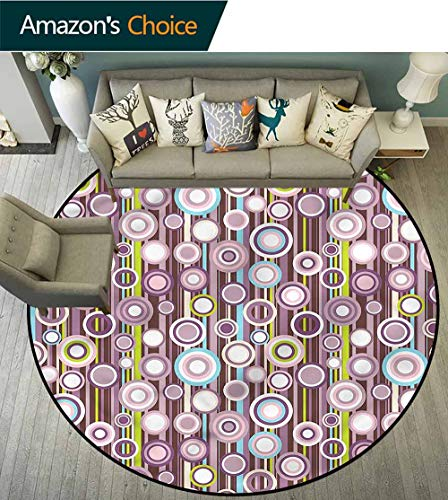 RUGSMAT Geometric Art Deco Pattern Non-Slip Round Area Rug,Stripes Circles Pattern Living Room Bedroom Study Soft Carpet Round-31 (Stripe Rug Circle)