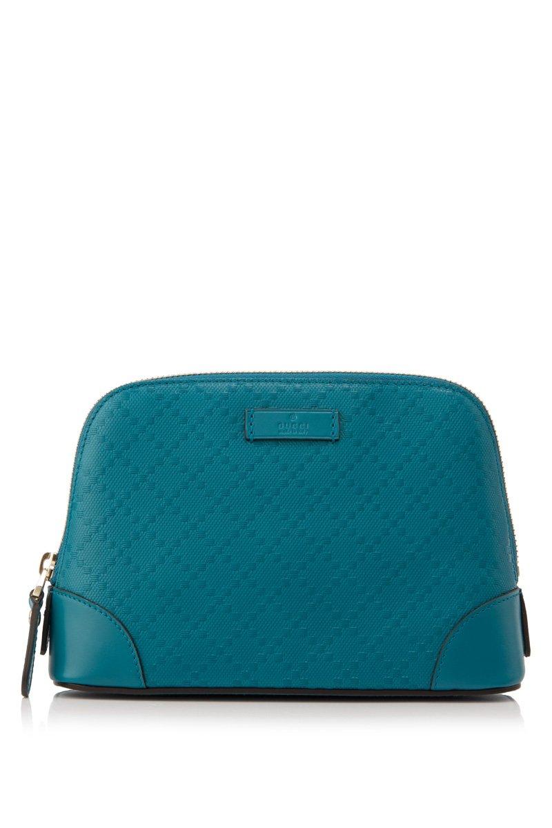 Gucci Bright Diamante Blue Leather Cosmetic Case 354504