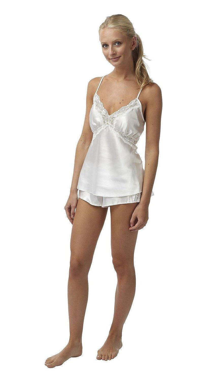 Ladies Satin & Lace Cami & Short Sets Ivory Size 8, 10, 12, 14, 16, 18, 20