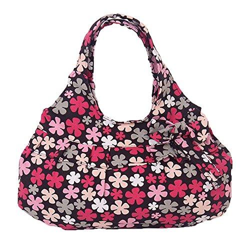 DELEY Mujere Lona Bowknot Volantes Florales Impresos Hobo Bolsa Bolso De Hombro Rojo Ciruela Flor