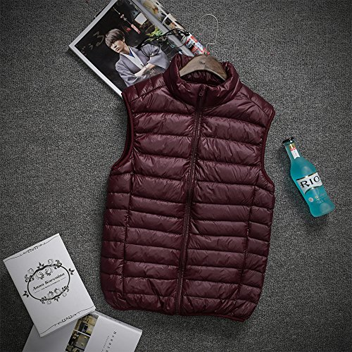 Coat Mens Jacket amp; BOZEVON Down Outwear Sleeveless Down Windproof Lightweight Winter Red Autumn Deep Zipper Waterproof Vest HpTwdwFqPg