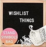 Premium Black Felt Letter Board with Stand 10x10 Inches | Changeable Message Board with Oak Frame, 300 White Letters and Bonus Canvas Bag - by Wishlist Things