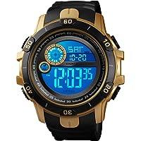 Men Wrist Watch Outdoor Alarm Backlight Stopwatch Digital Watch Gold Water Resistant Watch