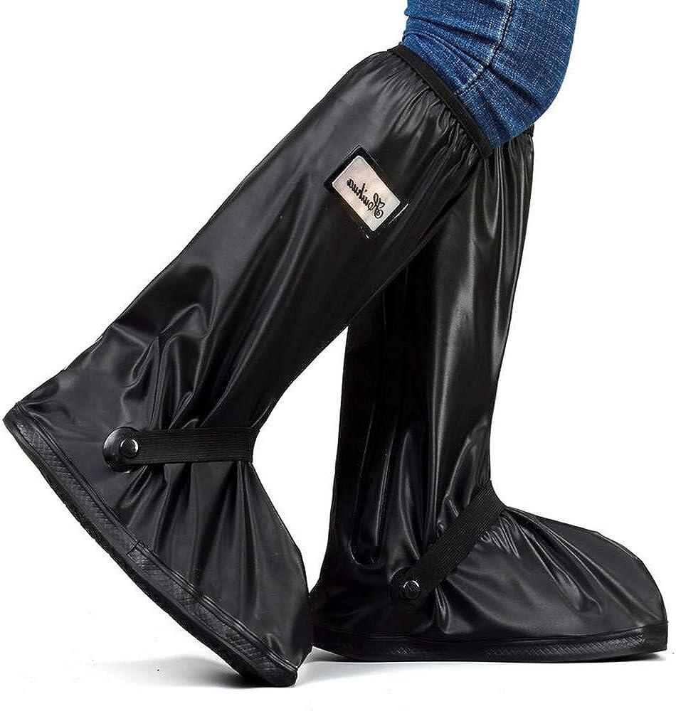 Reusable Waterproof Anti-Slip Rain Shoe Covers Zipper Overshoes Boots Gear NE8