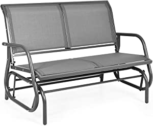Giantex Swing Glider Chair 48 Inch with Spacious Space, 2 People Swing Lounge Glider Chair Cozy Patio Bench Outdoor & Indoor for Patio, Backyard, Poolside, Lawn Steel Rocking Garden Loveseat (Gray)