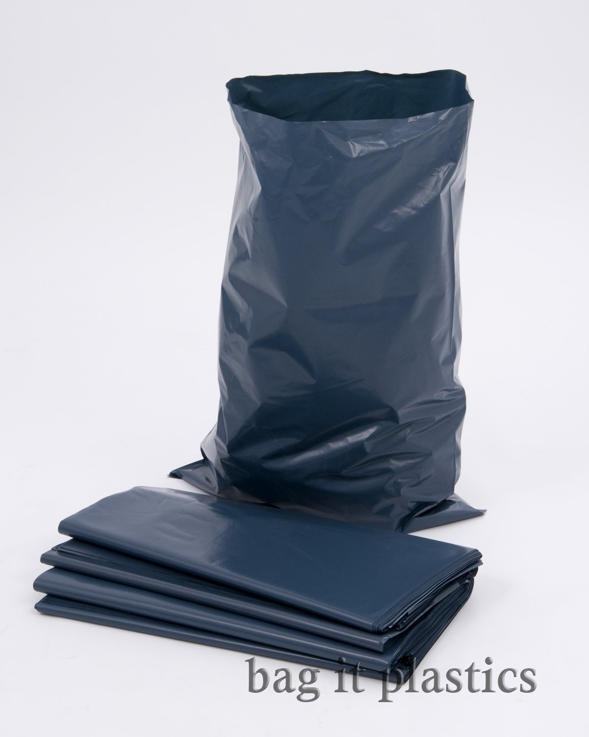 100 Blue Rubble Bags / Builders Sacks - 500 Gauge Bag It Plastics