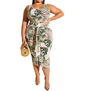 Womens Plus Size Floral Animal Tie Die Print Ladies Half Sleeve Midi Dress Top