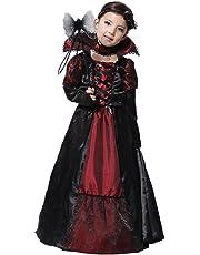 GIFT TOWER Kids Girls Gothic Vampiress Costume Halloween Cosplay Clothing Black
