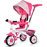 Costzon 4 in 1 Kids Tricycle Steer Stroller Toy Bike w/Canopy, Safety Seat, Storage Basket, Foot Pedals, for Children…